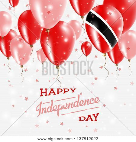 Trinidad And Tobago Vector Patriotic Poster. Independence Day Placard With Bright Colorful Balloons