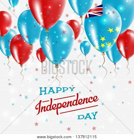 Tuvalu Vector Patriotic Poster. Independence Day Placard With Bright Colorful Balloons Of Country Na