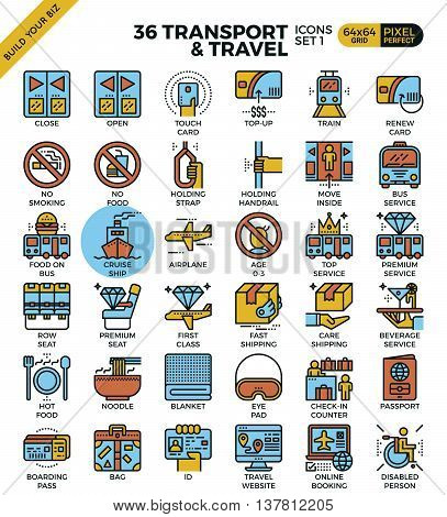 Transport & Travel Outline Icons