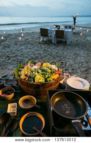 Buffet Line In Wedding Party Dinner On Beach,thailand