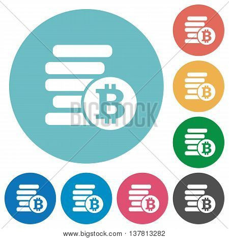 Flat bitcoins icon set on round color background.