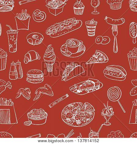 Hand drawn fast food pattern. Vector illustration, EPS 10