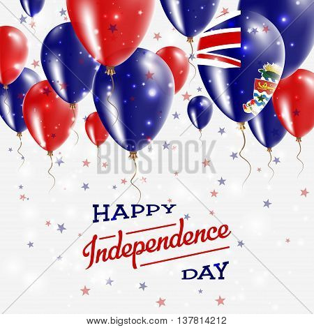 Cayman Islands Vector Patriotic Poster. Independence Day Placard With Bright Colorful Balloons Of Co