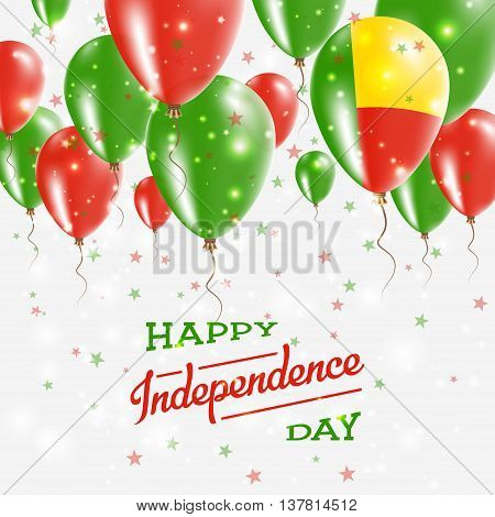 Benin Vector Patriotic Poster. Independence Day Placard With Bright Colorful Balloons Of Country Nat