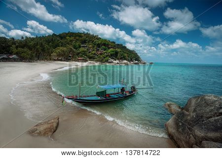 Long boat on beach in Phan-gan, Thailand