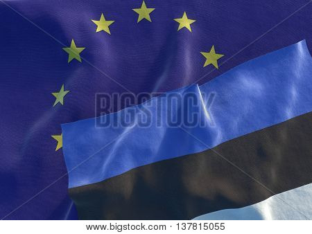 Flags of the Estonia and the European Union. Estonian Flag and EU Flag. 3D render