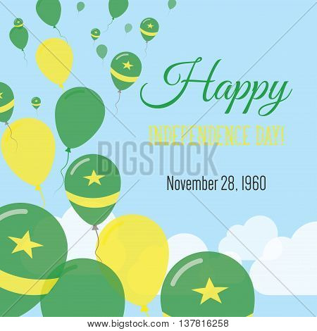 Independence Day Flat Greeting Card. Mauritania Independence Day. Mauritanian Flag Balloons Patrioti