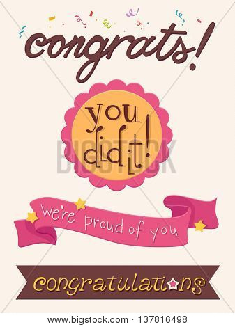 Illustration Featuring a Ribbon That Comes with Congratulatory Message