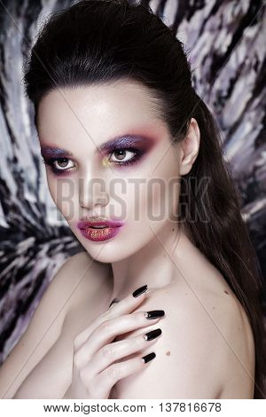 Fashion Model Girl Portrait with Red and Orange Makeup. Hairstyle. Make up.
