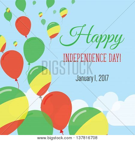 Independence Day Flat Greeting Card. Congo Independence Day. Congolese Flag Balloons Patriotic Poste