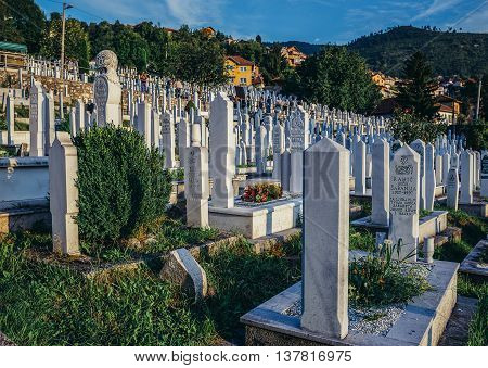 Sarajevo Bosnia and Herzegovina - August 24 2015. Graves at muslim cemetery in Alifakovac district of Sarajevo