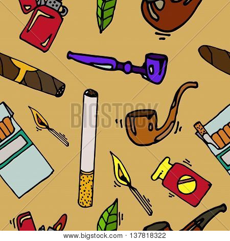 Smoking and tobacco pattern. Cigarette tobacco, addiction smoking, cigar tobacco illustration