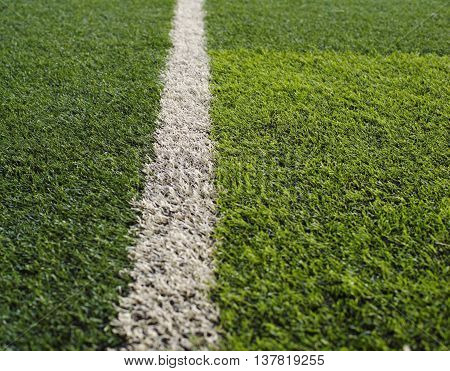 green grass football flied with white line
