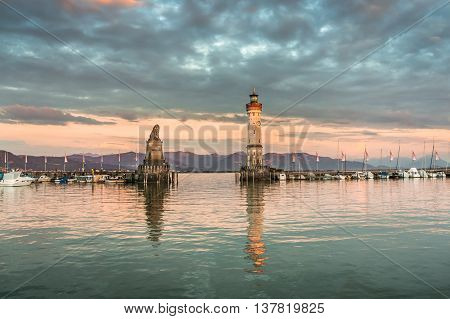 Evening Seascape With Lighthouse In Harbor Of Lindau