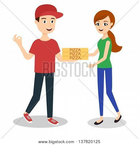 Vector illustration of pizza delivery boy handing three pizza boxes to a beautiful girl.