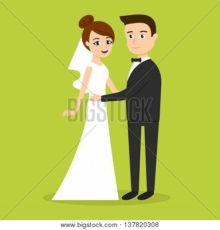 Vector characters: just married couple man and woman. Newlywed Bride & Groom.