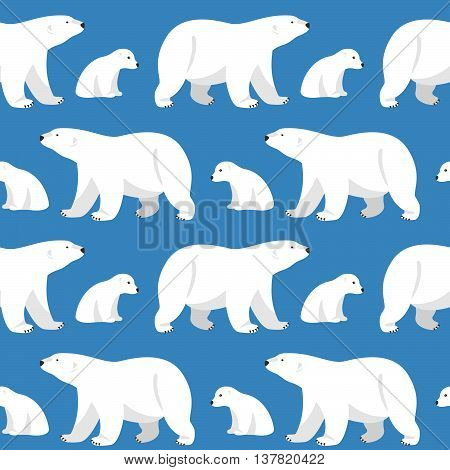 Vector seamless pattern with two polar bears she-bear and teddy bear on blue background.