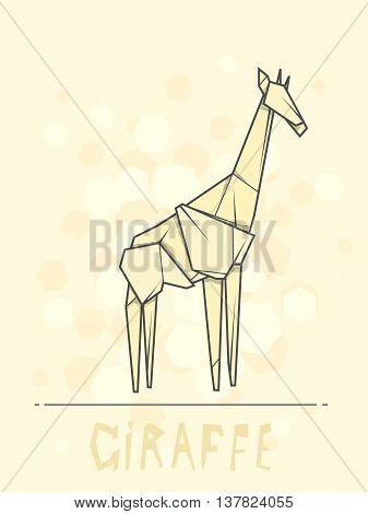 Vector simple illustration paper origami of giraffe.