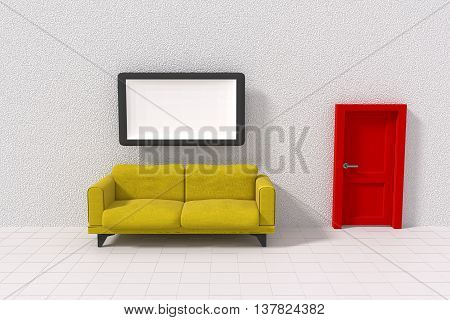 3D rendering of a white room with yellow sofa a picture frame and a red door