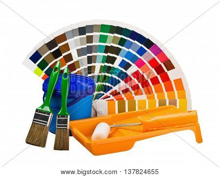 cans of paint paint brushes rollers color palette isolated on white