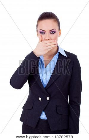 Business Woman Covering Her Mouth