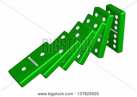 Concept: domino effect isolated on white background. 3D rendering.