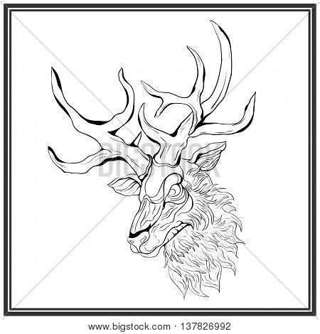 Black deer on the white background. Deer in a gray frame. Hand-drawing illustration.