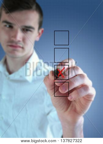 Young Businessman Drawing Business Concept
