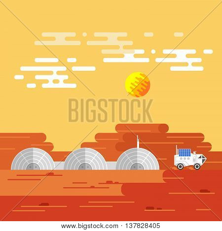 Vector illustration of human base on Mars in a daytime.