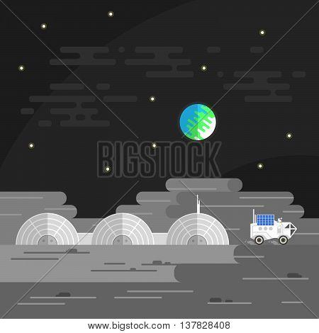 Vector illustration of human base on Moon.