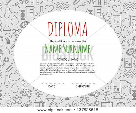 Vector Preschool Elementary Kids Diploma certificate background design template. School diploma.