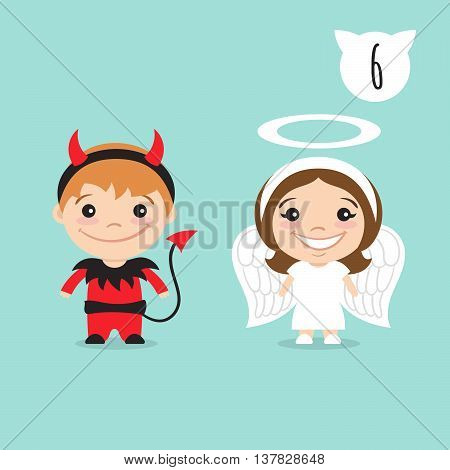 Vector illustration of two happy cute kids characters. Boy in imp or little devil costume and a girl in angel costume.