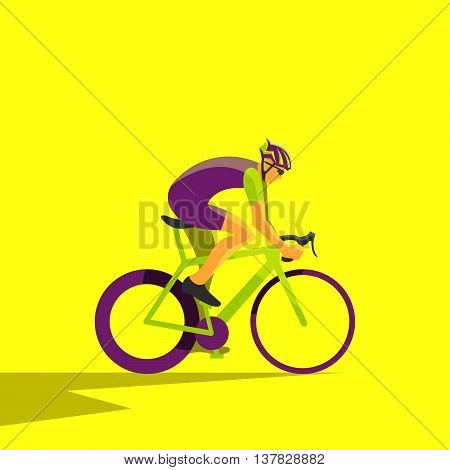Vector illustration of cyclist on bike; biker and bicycling; sport and exercise.