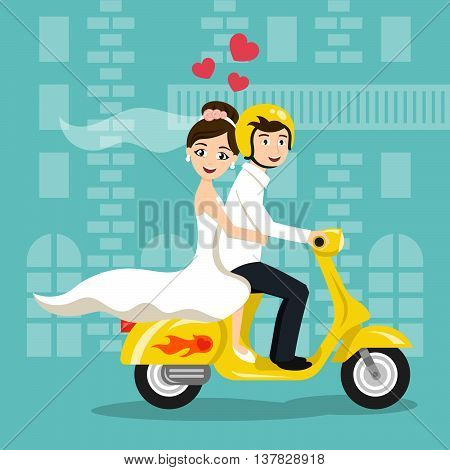 Vector illustration of young happy newlyweds bride and groom riding on scooter. Retro style transport vintage looking moped. Honeymoon. Vector print for card or poster design.