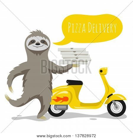 Vector illustration of happy cute sloth with pizza boxes and a speech bubble. Pizza delivery. Retro scooter. Vector print for t-shirt or poster design.