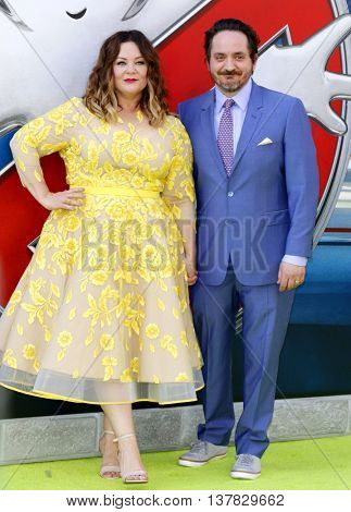 Melissa McCarthy and Ben Falcone at the World premiere of 'Ghostbusters' held at the TCL Chinese Theatre in Hollywood, USA on July 9, 2016.