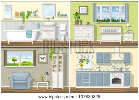 Illustration with four classic residential interiors, vector illustration