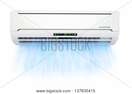 Air conditioner with cold blue airflow isolated on white background 3d