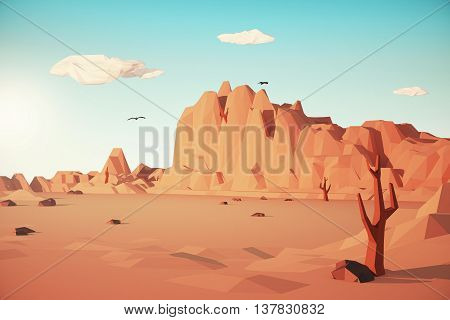 Colored Desert landscape. 3D Rendering. Close up.