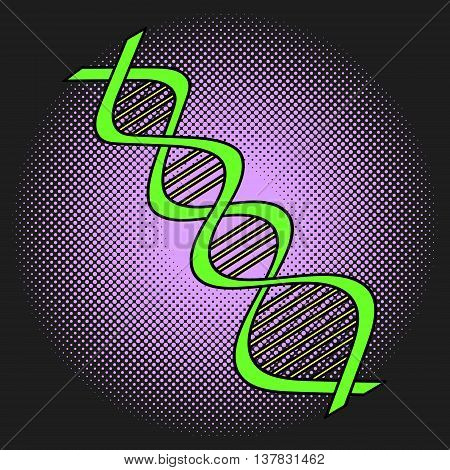 DNA Pop art vector illustration. Beautiful style comic Deoxyribonucleic acid. Hand-drawn