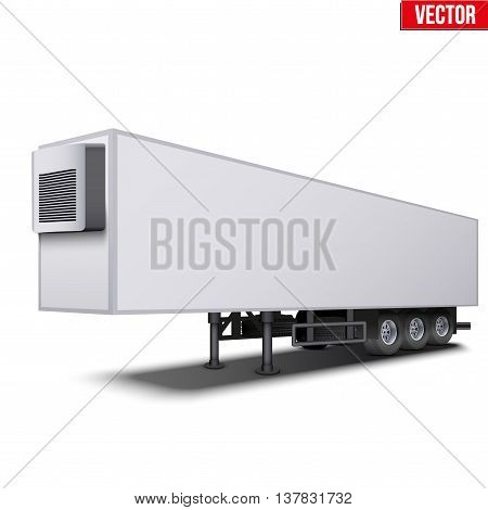 Blank parked van white semi trailer truck refrigerator. Perspective side view. Vector Illustration Isolated on white background