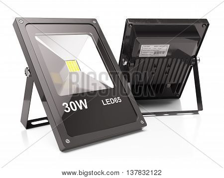 Group of LED floodlights isolated on white background 3d