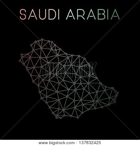 Saudi Arabia Network Map. Abstract Polygonal Map Design. Network Connections Vector Illustration.