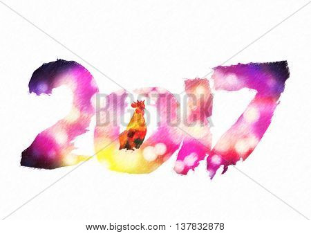 New 2017 - year of Fire Rooster in Chinese calendar. Numbers 2017 in individual creative performance with color blurred background