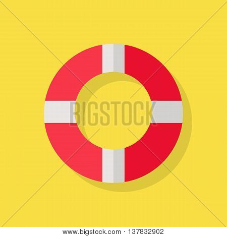 Vector illustration of a red white lifeline lifebuoy on yellow background