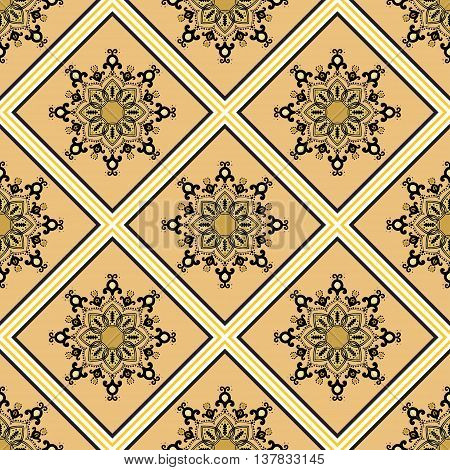 Seamless geometric pattern in ethnic oriental islamic style. Abstract golden and ochre background. Vector illustration in boho, vintage style for design of fabric, invitation card, textile, wallpaper