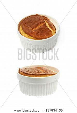 Cheese souffle in a white ceramic ramekin, composition isolated over the white background, set of two different foreshortenings