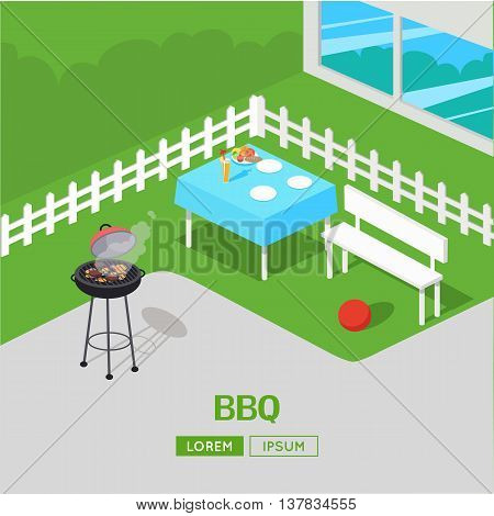 House backyard with grill. BBQ party vector illustration In isometric projection. Barbecue concept web banner. Family summer picnic on the grass outside the house. Dinner in the open air with meats.