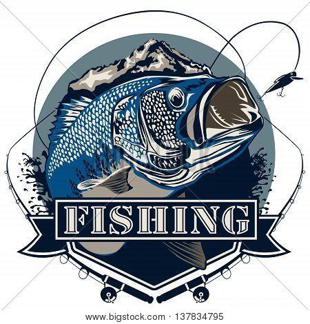 Bass Fishing Logo Blue