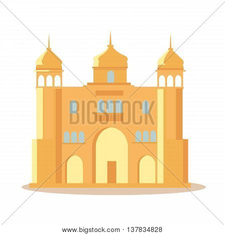 Travelling India famous historical attractions vector. Summer vacation in exotic countries concept. Indian palace in Flat Design. Acient Indian architecture illustration. Isolated on whitre.
